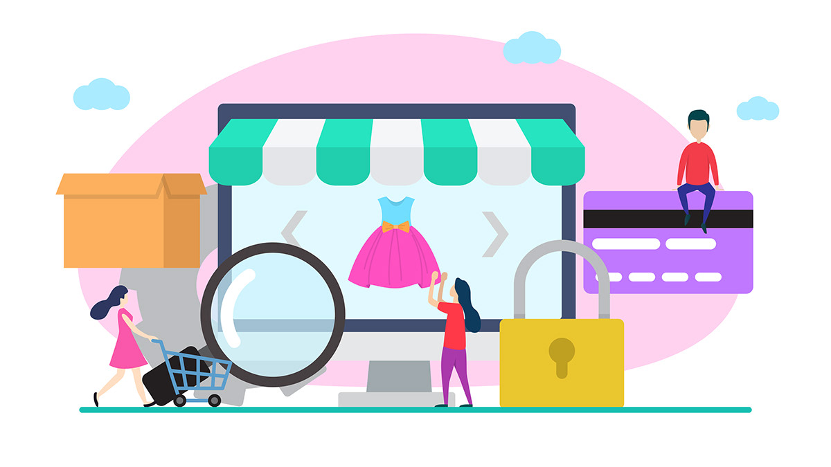 """""""Online Shopping Flat Illustration"""" by rizalul ammar is licensed under CC BY-NC-ND 4.0"""