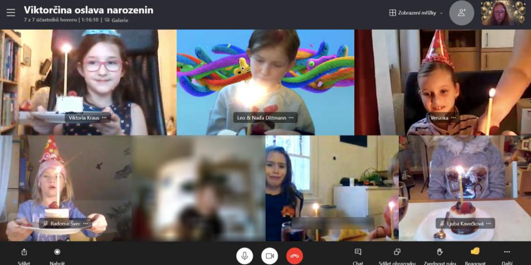 Viktorka si před zraky kamarádek rozbalila dárky od nich a všechny společně také sfoukly svíčky. (Jedna z kamarádek je rozostřená, protože rodiče si nepřáli její fotku zveřejnit.)